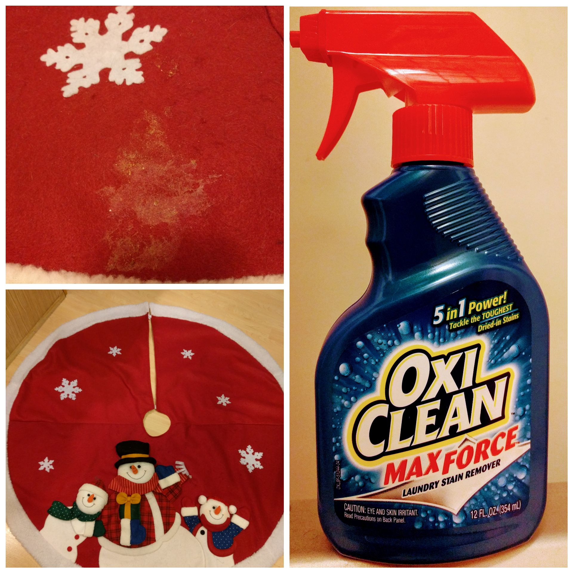 Freesample Oxicleanmaxforce Kitty Got Sick On My Tree Skirt And