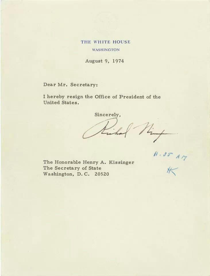 Nixonu0027s resignation letter Bizarre Pinterest Resignation letter - nixon resignation letter
