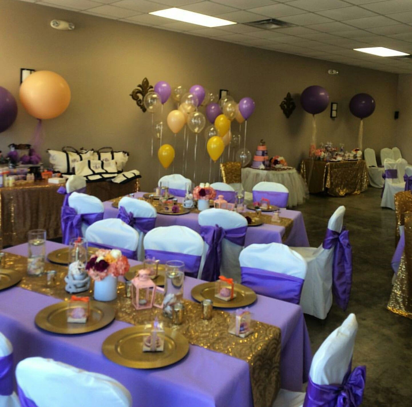 Royal purple and gold baby shower princess elise for Gold party