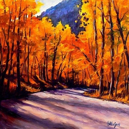 Golden moment fall landscape original art painting by for Fall paintings easy