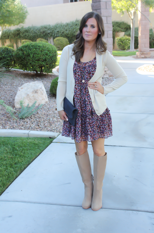 Navy Floral Dress, Beige Cardigan, Tan Suede Tall Boots, Navy ...