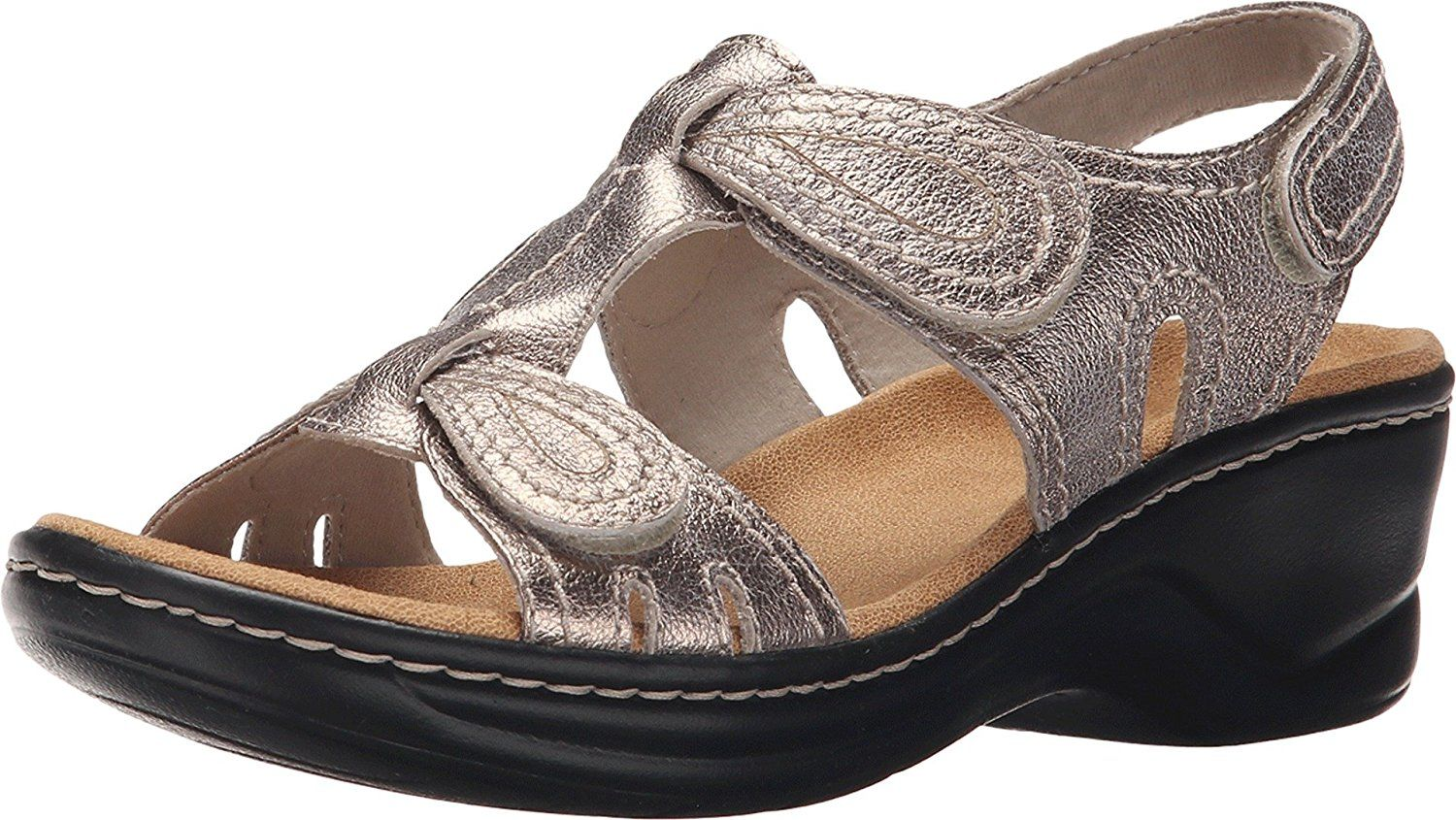 536f77375581 Clarks Women s Lexi Walnut Q Gold Metallic Sandal 6 D - Wide    Find out  more details by clicking the image   Clarks sandals