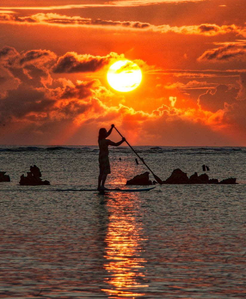A lone #paddleboarder skating across the surface with this awesome sunset in the background...who could resist this shot? from #treyratcliff at http://www.StuckInCustoms.com - all images Creative Commons Noncommercial