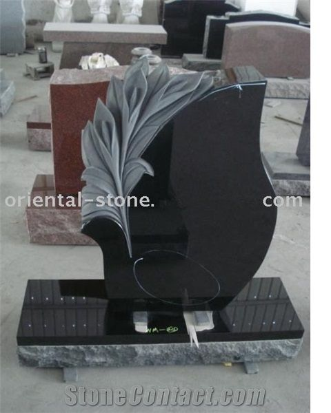 China Black Granite Tree Carving Headstones Cemetery Engraved