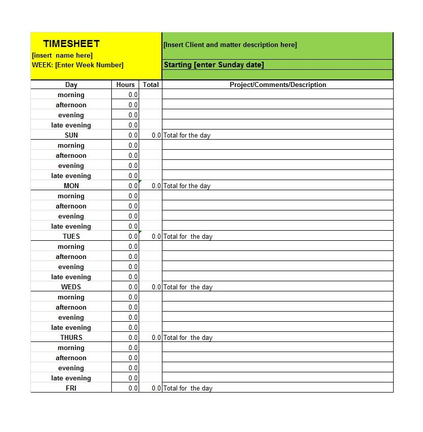 40 Free Timesheet   Time Card Templates - Template Lab Work - employee timesheet