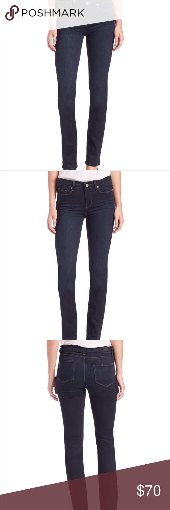 Paige Hoxton High-Rise Straight Leg Jean Paige Hoxton High-Rise Straight Leg Jean, color Mona (dark navy), rise ~10 inches, inseam ~34 inches Paige Jeans Jeans Straight Leg