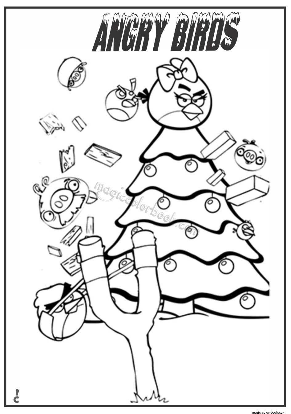 7600 Angry Birds Christmas Coloring Pages Pictures