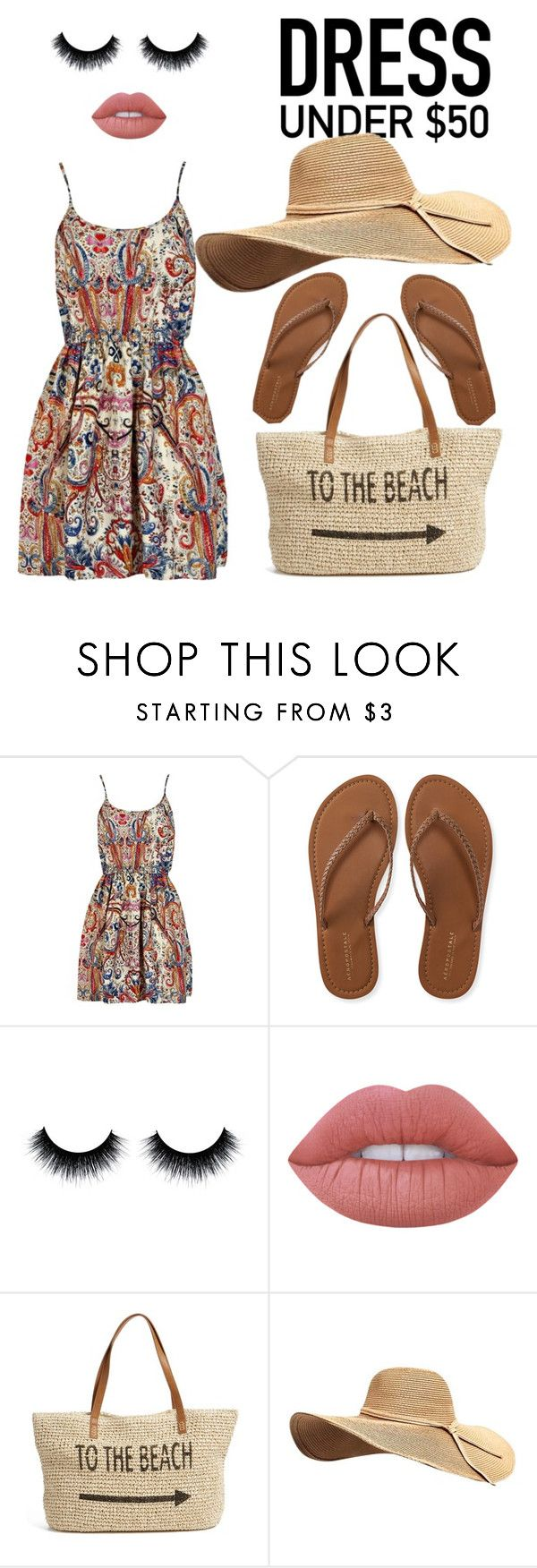 """Untitled #22"" by cidorell ❤ liked on Polyvore featuring Aéropostale, Lime Crime, Straw Studios and Dressunder50"