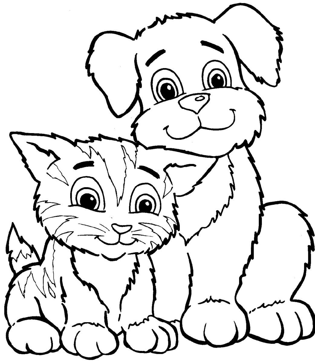 Dog And Cat Coloring Pages Simple Coloring Pages Of Dogs Dog Coloring Page Cat Coloring Page Animal Coloring Pages
