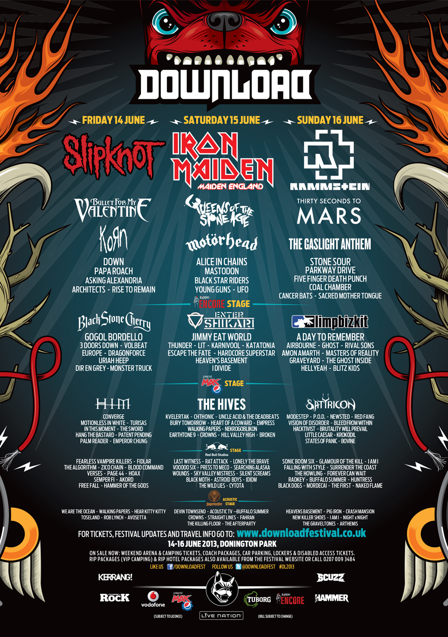 Poster Download Festival 2013 Festival Uk Festivals Motorhead
