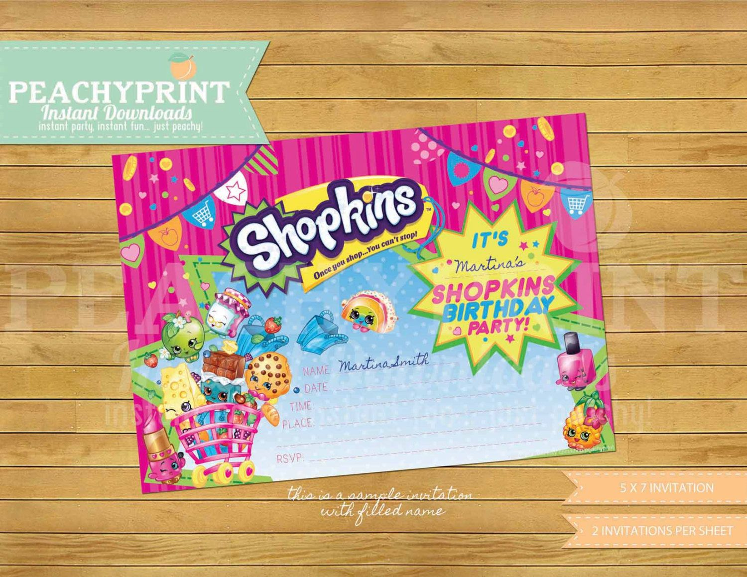 Shopkins Birthday Invitation Instant Download Shopkins And Birthdays - Blank shopkins birthday invitations