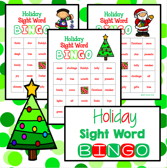 Christmas Holiday Sight Word BINGO