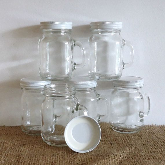 12 Small Mason Jars With Handles Mini Mason Jars With By Raggedyree 24 00 Comida