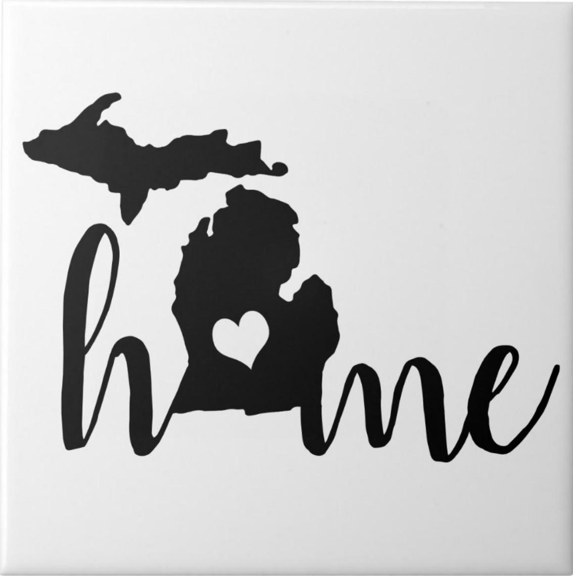 State Of Michigan Black Silhouette Home Ceramic Tile Zazzle Com In 2021 Michigan Sticker Michigan Art State Of Michigan [ png ]