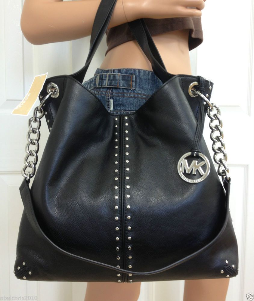d033c7a7b2d1 MICHAEL KORS Uptown Astor Shoulder Tote Black Large Satchel Silver Chain  Purse  MichaelKors  TotesShoppers