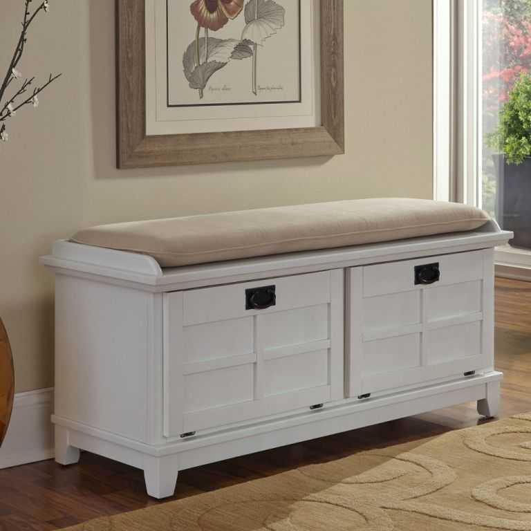 Furniture Fantastic White Hallway Storage Bench With Baskets And