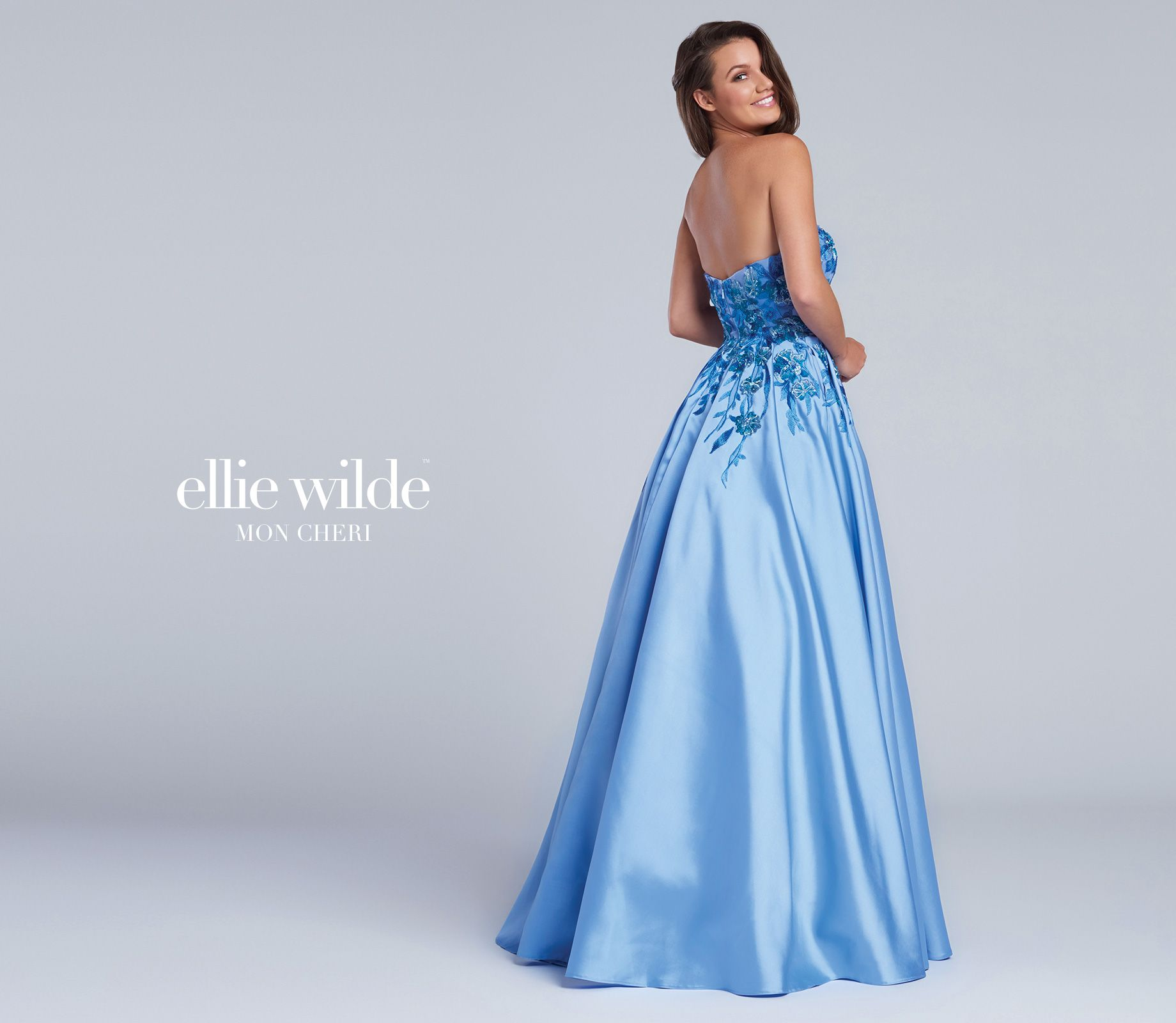 Strapless Periwinkle Mikado Full A-line Prom Gown - EW117066 ...