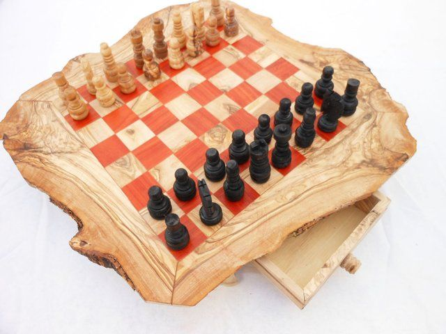 Olive wood monogrammed chess board by TunisiaHandMade