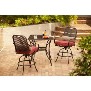 Hampton Bay Fall River 3 Piece Bar Height Patio Dining Set With Chili Cushions Dy11034 Hd R The Home Depot Bar Height Patio Set Patio Dining Set Hampton Bay