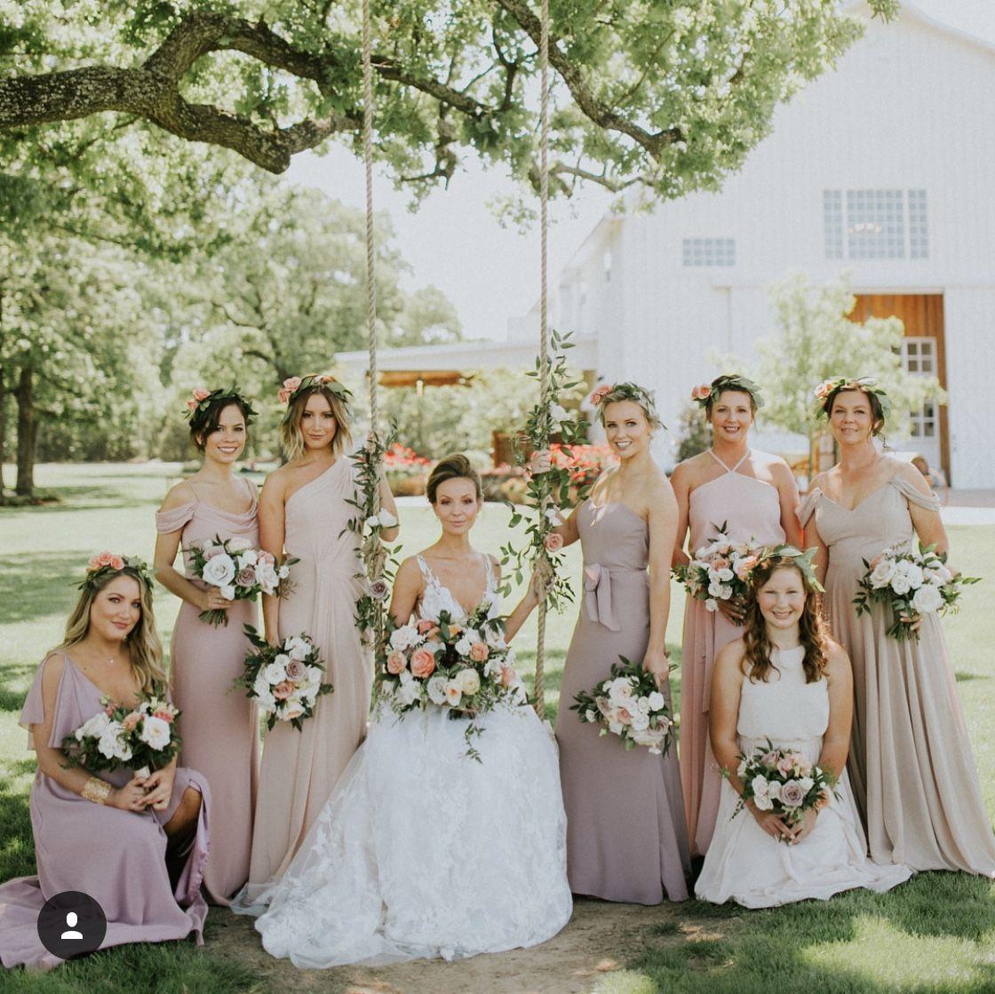 Ashley Tisdale Wedding Blush Dusty Rose Bridesmaids Flowers Taupe Stone Wedding Bridesmaid Bridal Couture