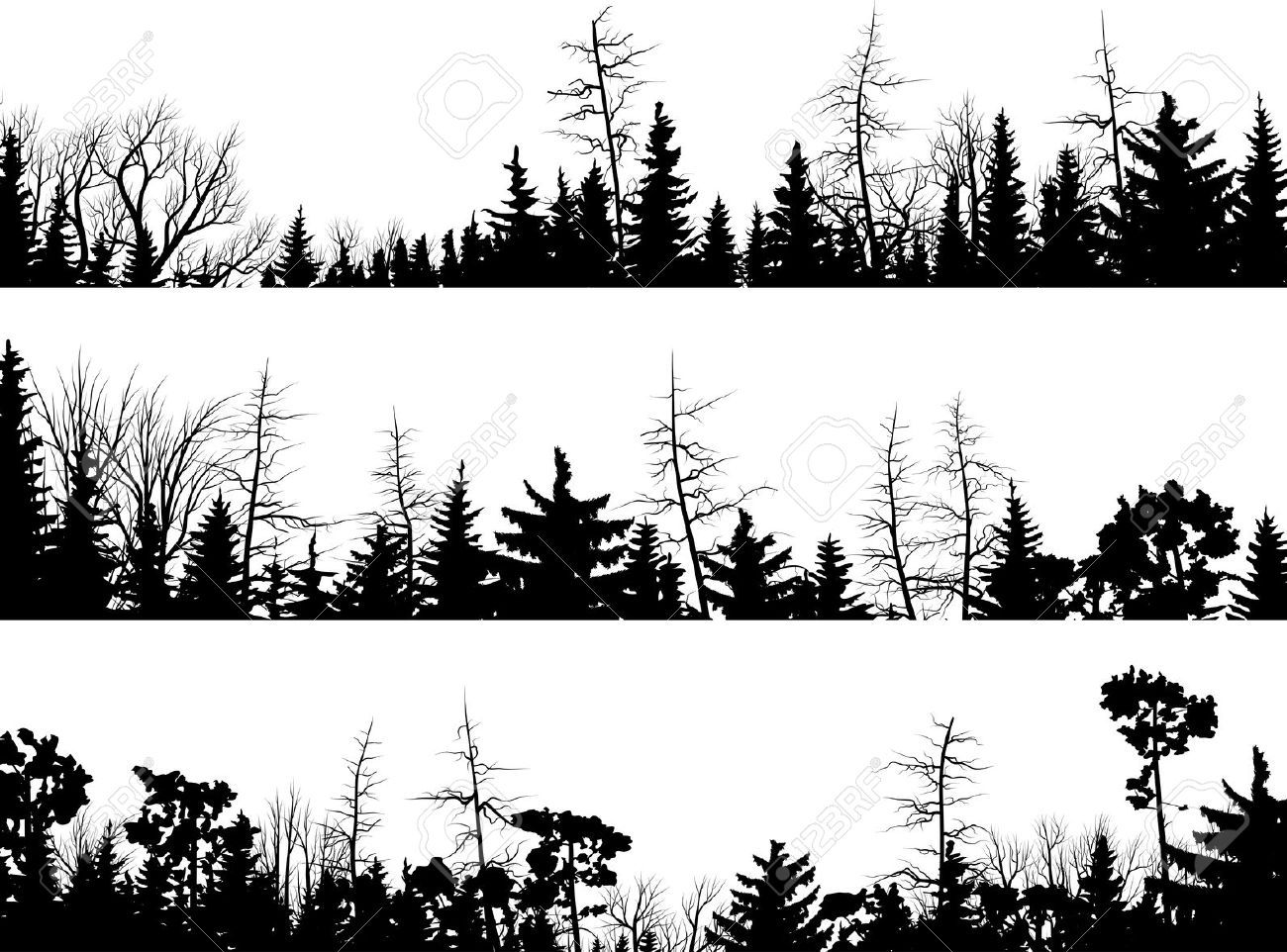 Line Art Forest : Set of vector horizontal silhouettes coniferous treetops