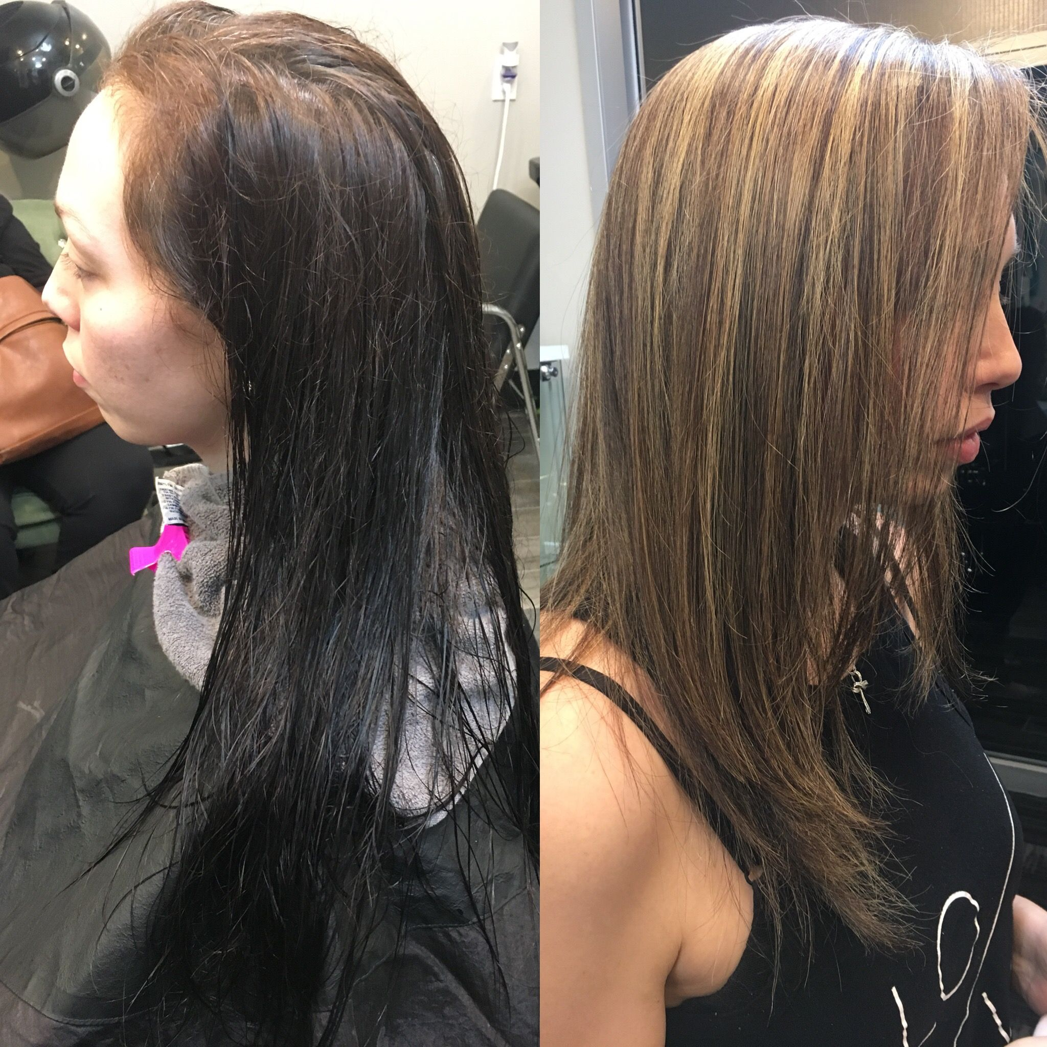 Color Correction On Dark Brown Hair Heavily Highlighted And Cut With