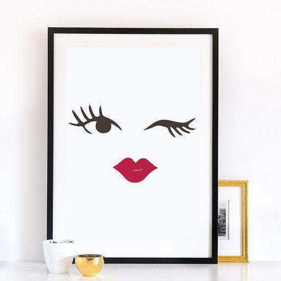Makeup blinked eye print wall decor minimal wall by for Minimal art wall