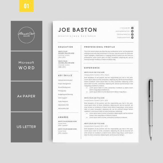 Resume Cv Template Bundle 3 Best Selling Resume Templates Etsy Resume Template Resume Template Professional Resume Template Etsy