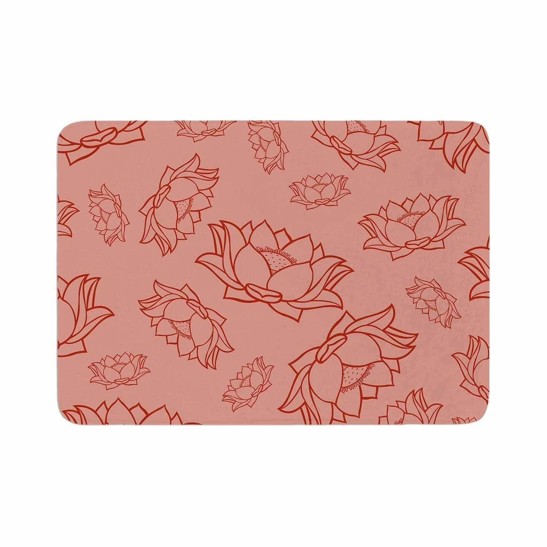 Kess Original Lotus Pattern Red Memory Foam Bath Mat Pink