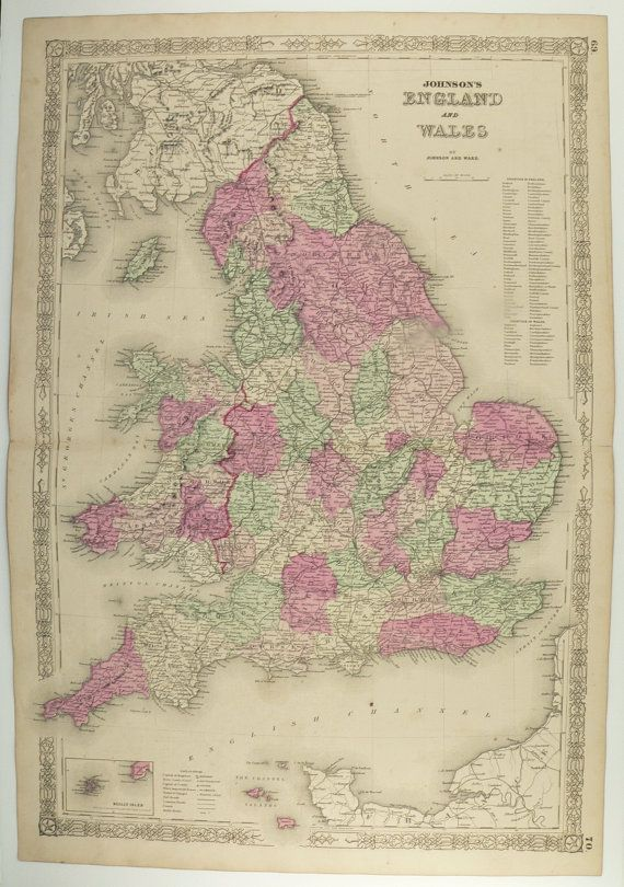 Antique map england united kingdom map great britain 1863 johnson england map united kingdom great britain map uk 1863 johnson map old world traveler gift for gumiabroncs Gallery