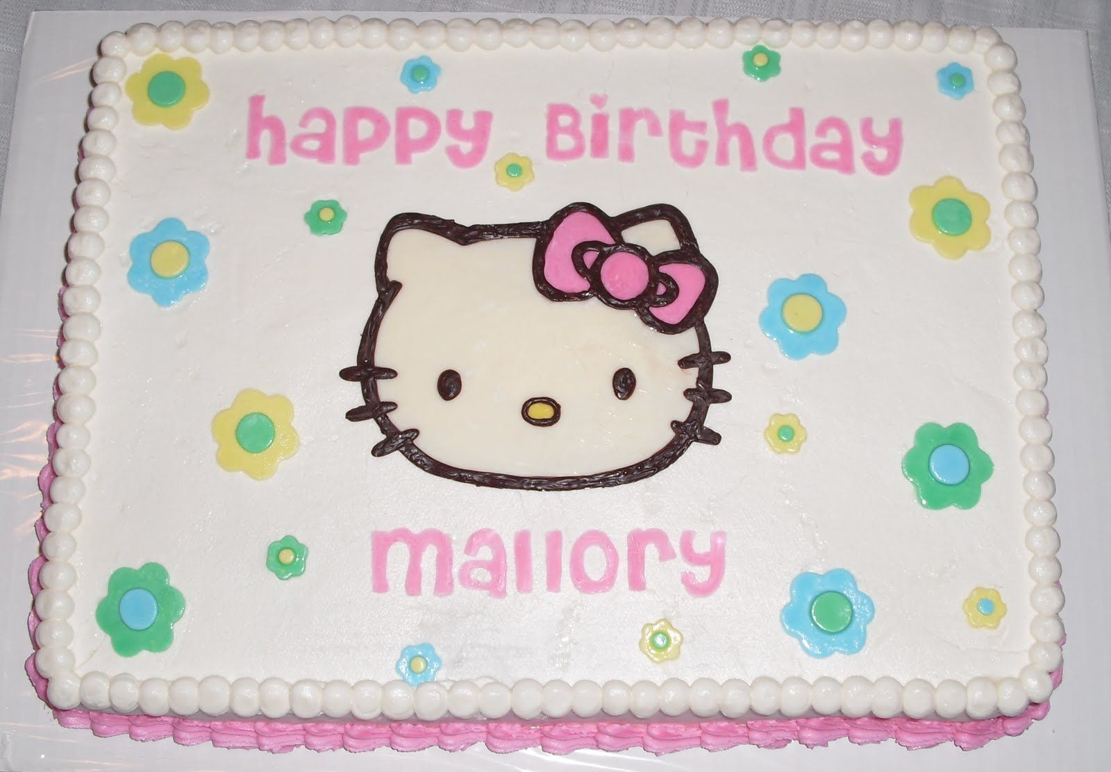 Hello Kitty sheet cake love this clean simple Birthday Party