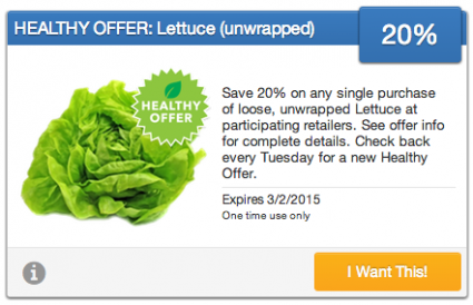 New Healthy Offer Save 20 on Lettuce with SavingStar