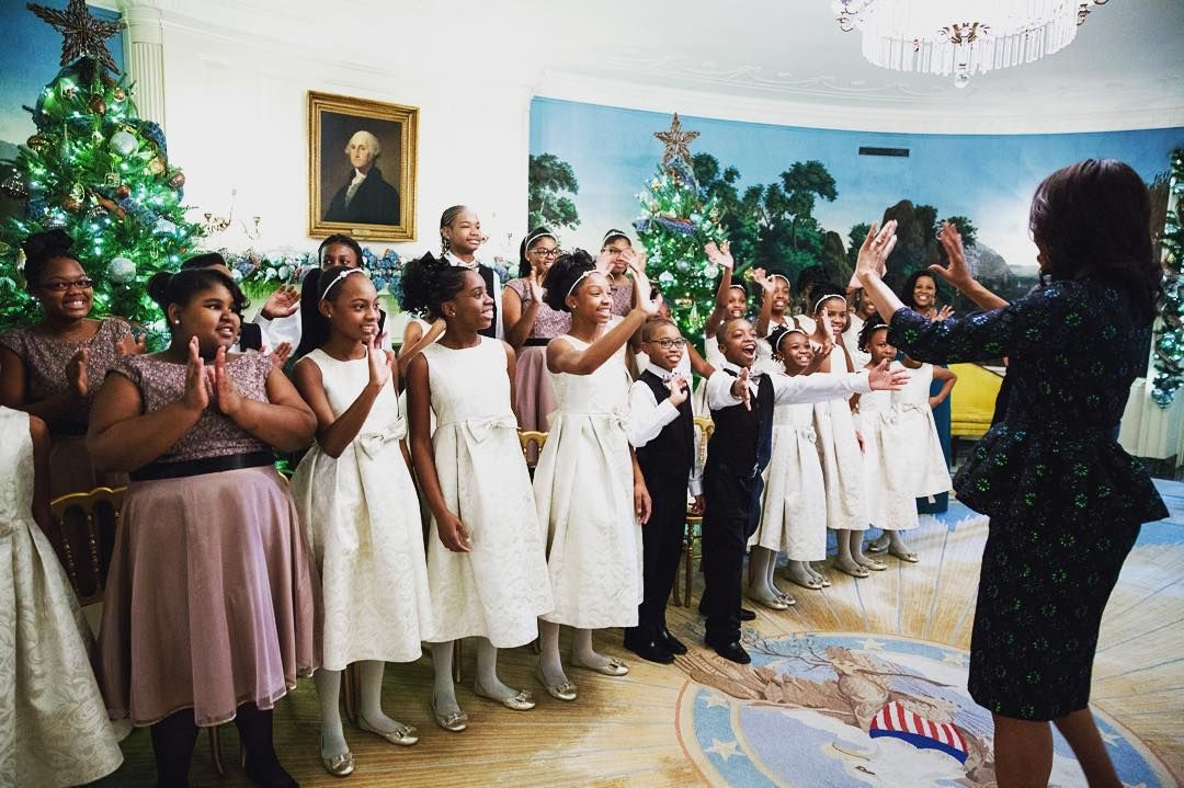 Just look at the happiness on these kids' faces! This is the Detroit Academy of Arts & Sciences Show Choir who performed at one of our holiday receptions. We invite all types of choirs from across America to come perform during the holiday season. Their excitement was infectious - as you can see from the First Lady's reaction. These students remind me that Kids + Arts = Infinite Possibilities. —Deesha Dyer, @WhiteHouse Social Secretary. #WHHolidays