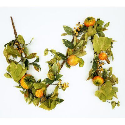 August Grove 6' Gourd Pumpkin Berry & Potato Leaf Garland #leafgarland