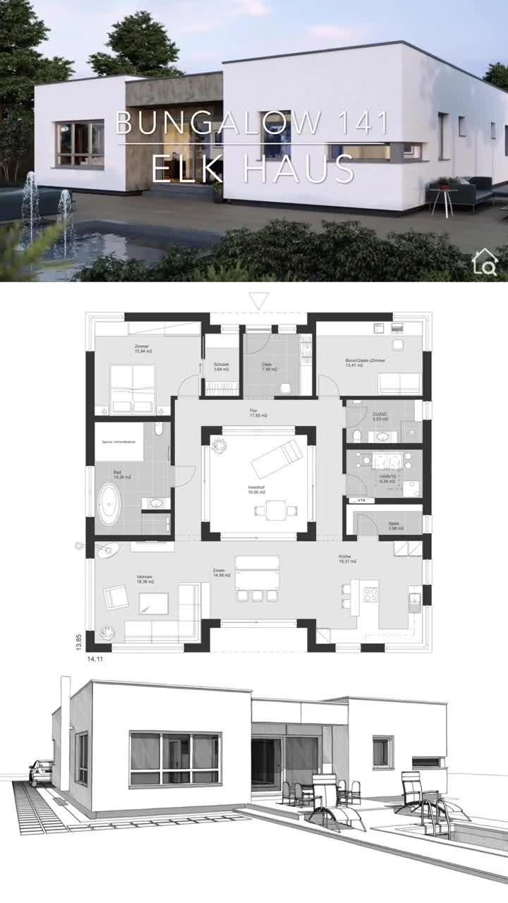 Fertighaus Bungalow modern im Bauhaus Design mit Flachdach & Innenhof bauen Haus Grundriss Ideen