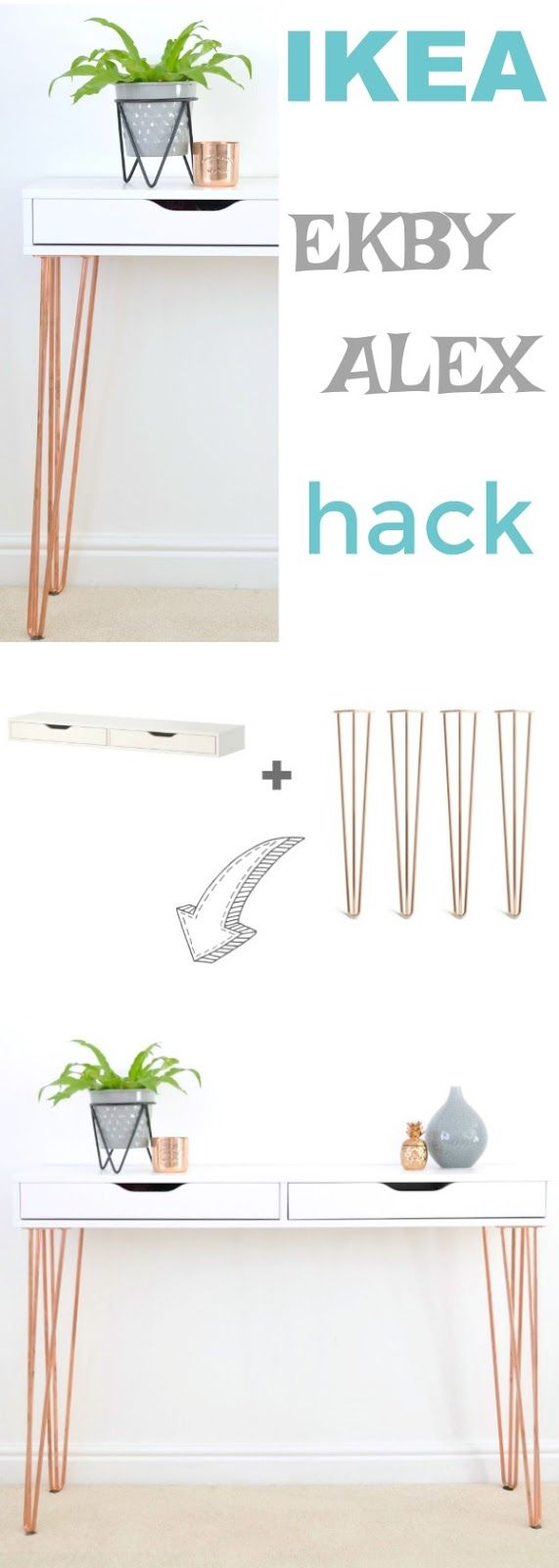 Ikea Ekby Alex Hairpin Console Table Hack #ikeahacks