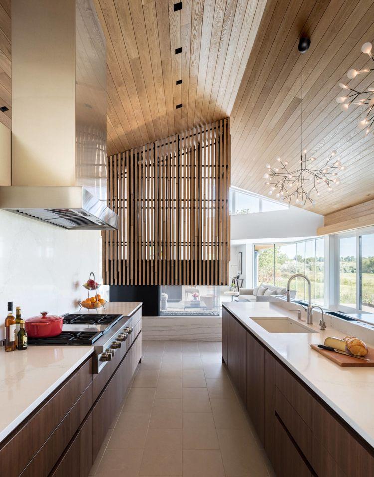 Sehr Deckenverkleidung aus Holz wand luftig trennwand küche moderne KS77