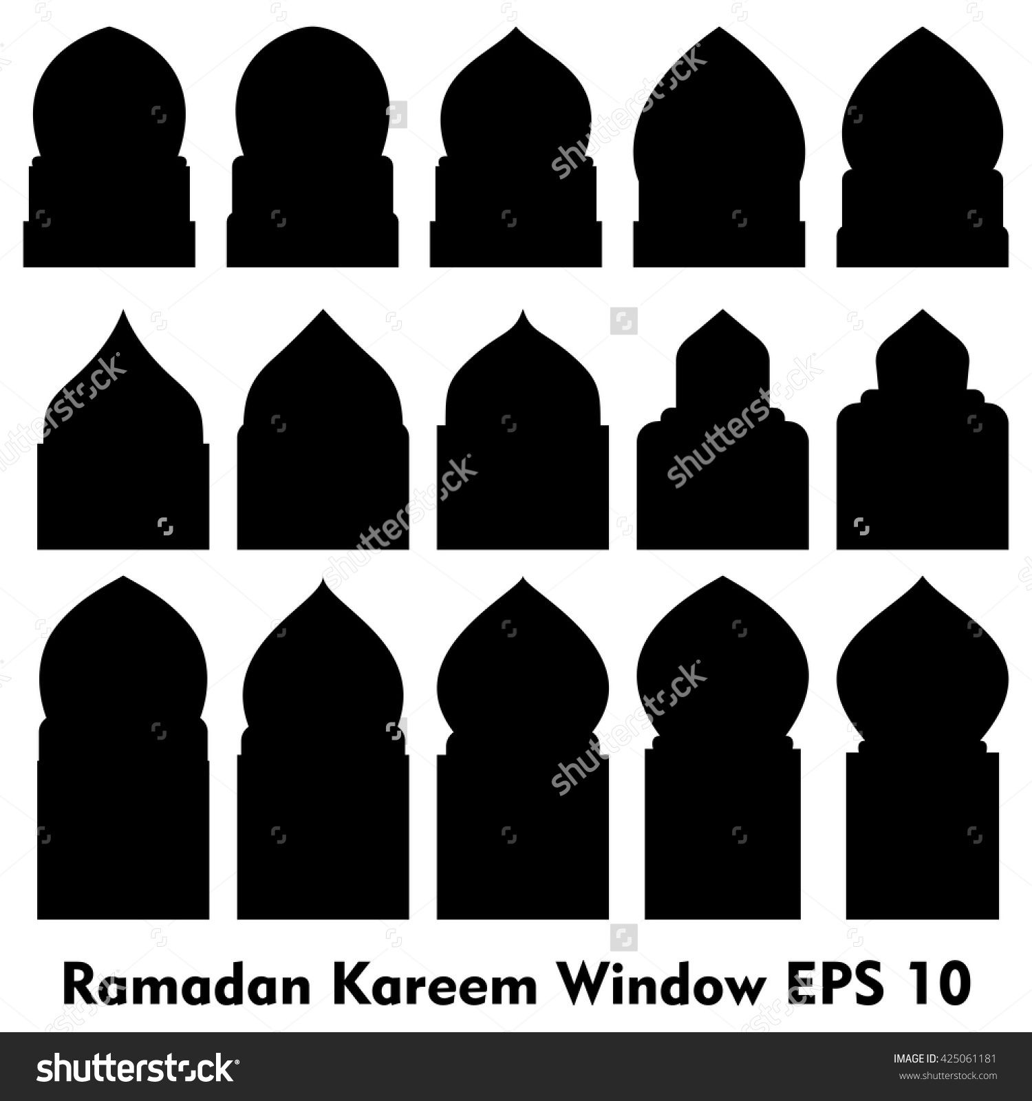Vector Islamic door and window shapes / Arabic door and window vector silhouette  sc 1 st  Pinterest : door shapes - pezcame.com