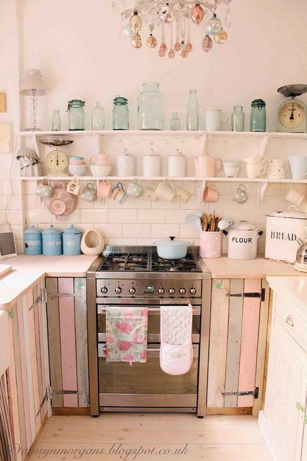 50 sweet shabby chic kitchen ideas 2017 - Open Shelving Kitchen Ideas