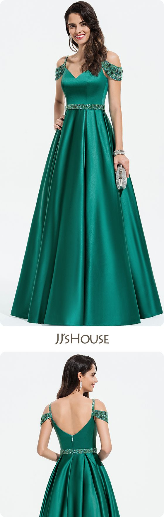 JJsHouse Ball-Gown/Princess V-neck Floor-Length Satin Prom Dresses With Beading Sequins