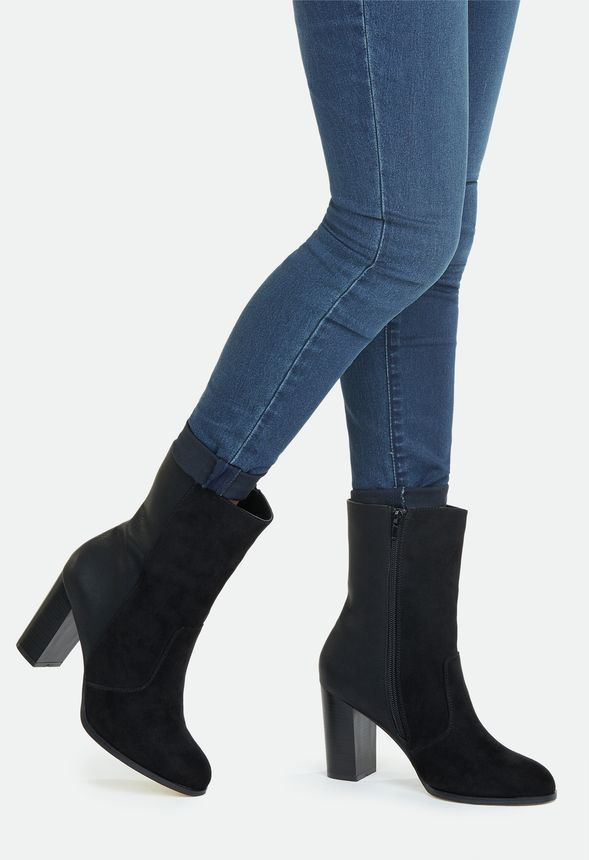 Sleek ad sassy does the job when it comes to these fierce booties. They feature an inner zip closure and a chunky block heel. ...