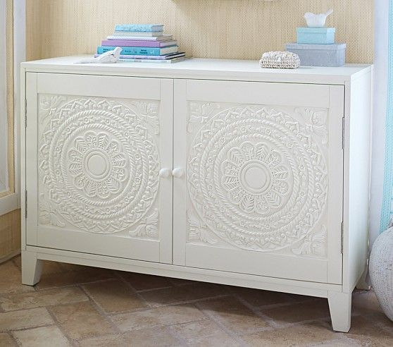 Furniture. Two Door Chest With Faux Carved Wood Door Panels In White.. Isla