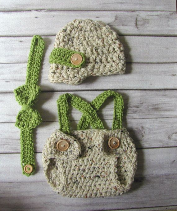 Crochet baby hat-Newsboy hat with diaper cover and suspenders ...