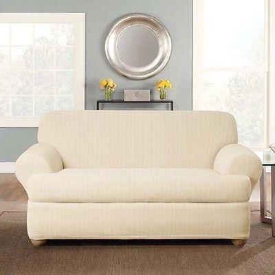 Surefit Cream Stretch Pinstripe 2 Piece T Cushion Loveseat Cover
