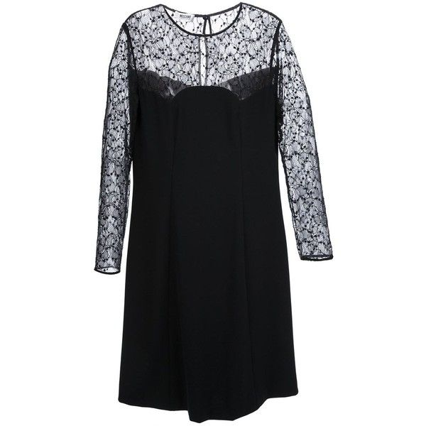 Moschino Cheap & Chic Lace Detail Dress ($255) ❤ liked on Polyvore featuring dresses, black, moschino cheap & chic, black dress, kohl dresses, black lace sleeve dress and long sleeve lace dress