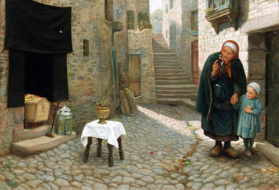 Arthur Hughes (British Pre-Raphaelite painter) 1832 - 1915, The Old Neighbour Gone Before: a Street Episode in Brittany, 1878-79, oil on canvas , 30½ x 44.5/8 in. (77.5 x 113.3 cm.), signed 'Arthur Hughes' (lower right) and signed and inscribed 'No 2., The Departure of a Neighbour/Brittany/Arthur Hughes/2 Finboro Road/Fulham Road/S.W.' on an old label on the reverse
