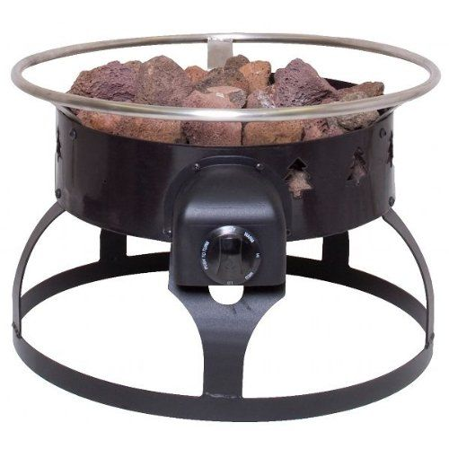 Camp Chef Redwood Portable Propane Fire Pit with 4 Roasting Sticks, Black