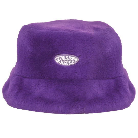 So Cute Faux Real Available In Black And Purple Faux Fur Rubber Logo One Size Bucket Hat Hipster Outfits Hats