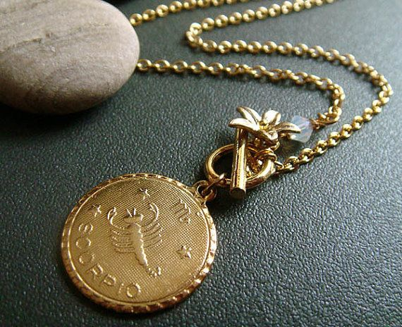 silvered pendant zodiac il uk constellation of medal market etsy scorpio vintage medallion medaillon