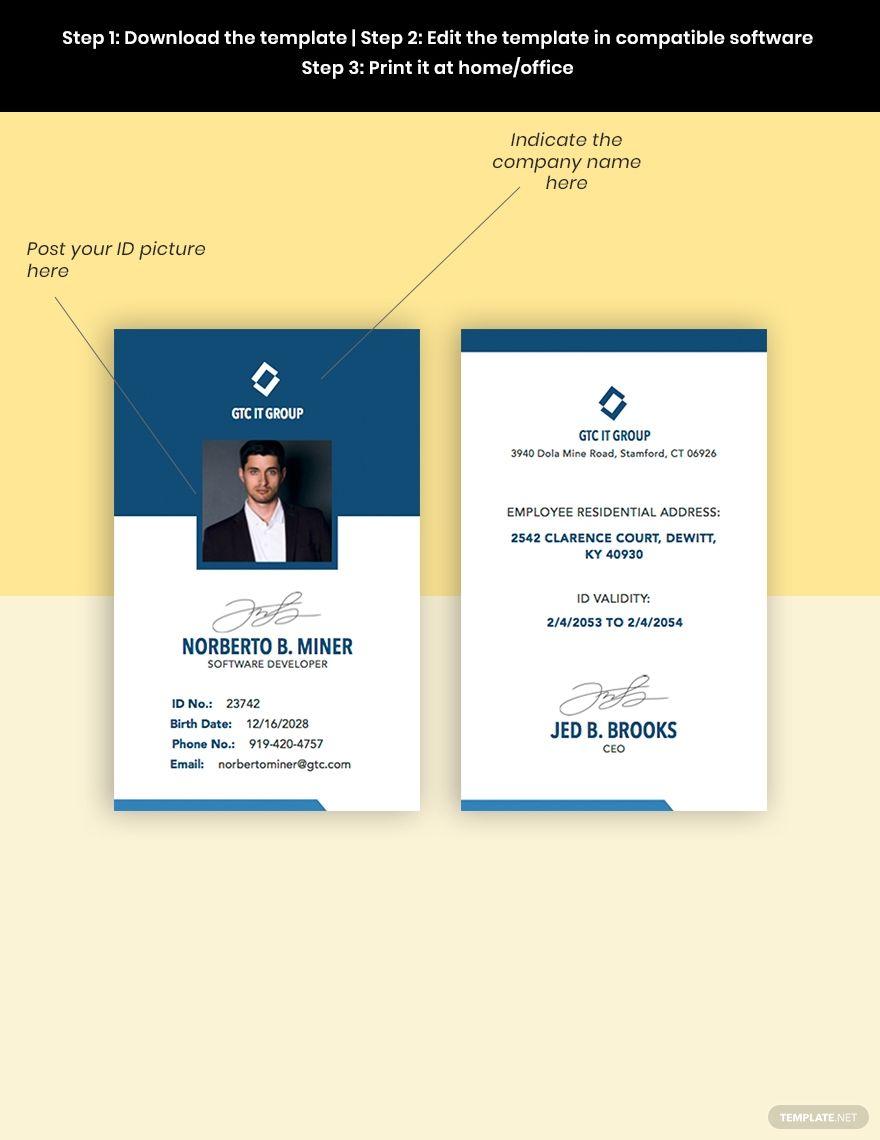 It Employee Id Card Template Pdf Word Psd Apple Pages Illustrator Employee Id Card Id Card Template Card Template